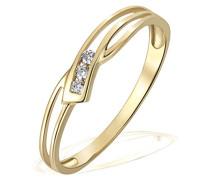 Damen-Ring 9 Karat 375 Gelbgold Verlobung 2 weiße Zirkonia