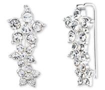Flower Cluster Silber und Kristall Ohrstecker