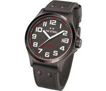 TW Steel Unisex-Armbanduhr Pilot Analog Leder grau TW420