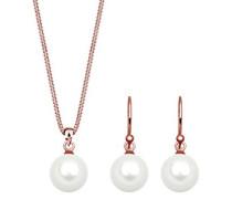 Damen-Schmuckset Halskette + Ohrringe 925 Silber Süßwasser-Zuchtperle Weiß - 0902531417_45