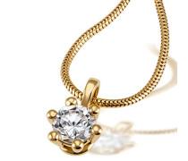 Solitär Damen-Collier 6er Stotzen 750 Gold 1 Brillant Si 1 weiß 1,00 ct. Inkl. externer Expertise