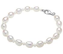 Damen-Armband Hochwertige Süßwasser-Zuchtperlen in ca. 4-6 mm Oval weiß 925 Sterling Silber 19 cm - Perlenarmband mit echten Perlen weiss 474511