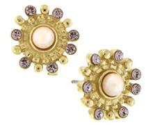 Gold, mit Amethyst Strasssteinen und künstlicher Perle Ohrringe Knöpfe, Pink