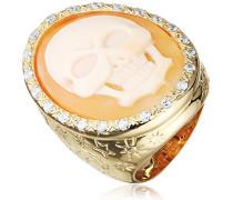 Damen-Ring Muschel Braun Ovalschliff - Größe 53 (16.9)