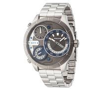 Police Bushmaster Herren Mechanische Armbanduhr mit grauem Zifferblatt Analog-Anzeige und Silber Edelstahl Armband 14638X Stu/61M