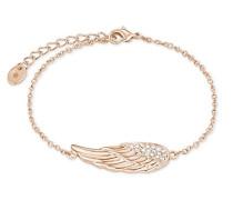 Damen Armband längenverstellbar Flügel-Anhänger rosévergoldet veredelt mit Swarovski Kristallen 17+3 cm