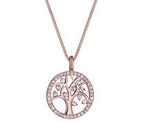 Damen Schmuck Halskette Kette mit Anhänger Lebensbaum Tree of Life Glücksbringer Talisman Silber 925 Rosé Vergoldet Swarovski Kristalle Länge 45 cm