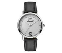 Disney Women's Union Quartz Watch with Weiß Dial andSchwarz PU Leather Strap ID00501