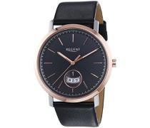 Regent Herren-Armbanduhr XL Analog Quarz Leder 11120110