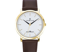–612364–Armbanduhr–Quarz Analog–Weißes Ziffernblatt–Armband Leder braun