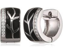 Damen-Creolen Black Lack 925 Sterlingsilber 20 weiße Zirkonia Ohrringe Schmuck