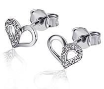 Damen-Ohrstecker Herz 585 Weißgold 18 Diamanten 0,06 ct. Herz-Ohrringe