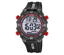 Herren Digitale Armbanduhr mit LCD Dial Digital Display und schwarz Kunststoff Gurt K5701/6