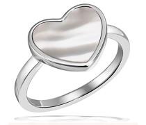 Damenring Jahrestag Heart Glow 925 Sterlingsilber 1 Perlmutt weiß Herz
