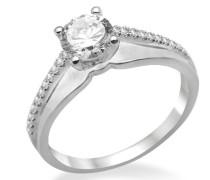 Damen-Ring 925 Sterling-Silber hochglanzpoliert Zirkonia Solitär MPS026RM
