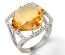 18 Karat (750) Weigold 58 (18.5) Damenring, mit  citrin und 48 (0,33 cts) Diamanten M0682WR