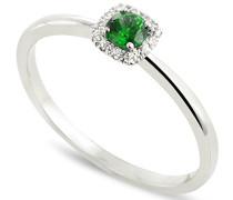 Damen-Ring 9 Karat Weißgold, Smaragd-badm 07063-0001