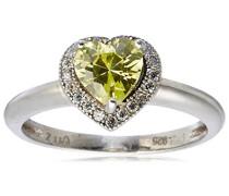 Damen-Ring Herz 925 Sterlingsilber 1 grüner und 20 weiße Zirkonia
