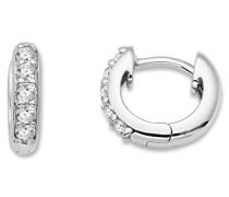 Ohrringe Damen, Schmuck 925 Sterling Silber rhodiniert, Creolen mit Cubic Zirkonia brilliantschliff Steinchen weiß
