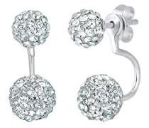 Damen Ohrstecker Front-Back Doppelohrstecker 925 Sterling Silber Swarovski Kristall weiß Brillantschliff 0307240915