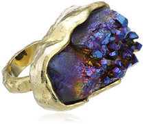 Ring Mara 24ct Gelbgold, versilbert, blau