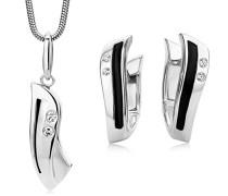 Damen-Set: Halskette + Ohrringe Zirkonia und Emaille schwarz Sterling Silber 925