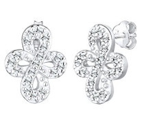 Damen-Ohrstecker Infinity Unendlichkeit 925 Sterling-Silber Kristall weiß Facettenschliff