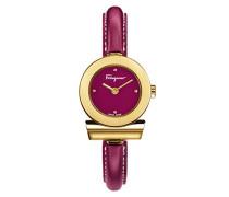 Salvatore Ferragamo Gancino Bracelet Damen Quarzuhr mit Fuchsie Dial und Champagner Gold Armband Armband mit Fuchsie Leder FII060015