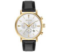 Classic Aerojet 97B155 - Herren Designer-Armbanduhr - Chronograph mit Armband aus Leder - Goldfarben