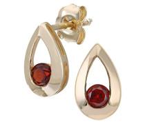 Damen-Ohrstecker 9 K Tränen 0,35 ct Granat Ohrringe 375 Gelbgold rot rundschliff