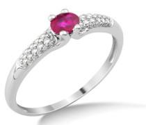 Damen-Ring Rubin und Brillanten 9 Karat 375 Weißgold