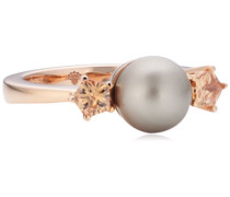 Damen-Ring Silber vergoldet Perlmutt Zirkonia Gwyneth braun