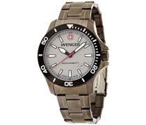 Wenger Herren-Armbanduhr XL Seaforce Analog Quarz Edelstahl beschichtet 01.0641.107