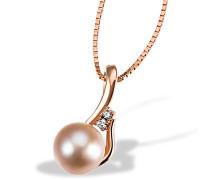 Damen-Halskette Princess Perl 375 Rotgold 1 rosa Perle 2 Brillanten SI/H 0,03 ct. Kettenanhänger Schmuck Perlenkette