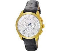 Herren-Armbanduhr XL Legend Chrono Swiss Made Chronograph Quarz Leder JP101071S08