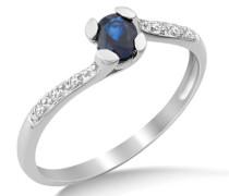 Damen-Ring Saphir und Brillanten 9 Karat 375 Weißgold