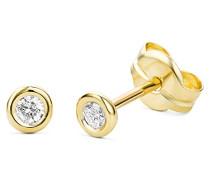 Damen-Ohrstecker Solitär 375 Gelbgold Diamant (0.1 ct) weiß Rundschliff
