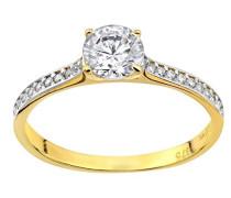Damen-Ring 9 Karat 375 Gelbgold Rundschliff weiß