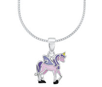 Kinder-Kette mit Anhänger Einhorn Rosie 925 Silber rhodiniert Emaille 38 cm - 2013154