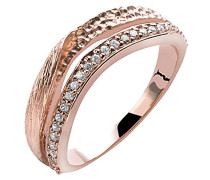 Damen-Ring Silber vergoldet Zirkonia weiß Brillantschliff
