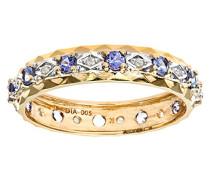Damen-Ring 9 K Gelbgold P1 Diamant 0,05 ct Tansanit blau
