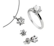 Diamonfire Damen-Set: Halskette + Ohrringe 925 Sterling Silber Carats Zirkonia Gr. 52 (16.6) 13/1161/1/902-52