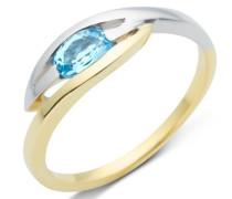Damen-Ring 9 Karat Bicolor Blau Topas