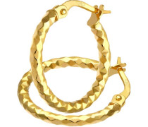Damen-Ohrringe Creole 9 Karat 375 Gelbgold Diamantschliff 15mm SIL1307Y