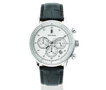 224G123–Armbanduhr–Quarz Chronograph–Zifferblatt Silber–Armband Leder Schwarz
