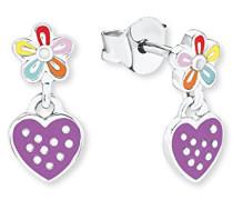 Kinder-Ohrhänger Herz und Blume 925 Silber rhodiniert