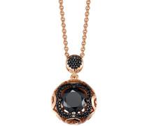 Pierre Cardin Damen Halskette 925 Sterling Silber rhodiniert Glas Zirkonia Berceau 42 cm schwarz S.PCNL90482J420