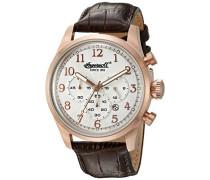 Herren-Armbanduhr Quarz, mit silberfarbenem Zifferblatt, Chronograph-Anzeige und braunem Lederband inq041slrs