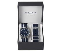 Nautica Herren-Armbanduhr Analog Quarz Textil NAI11509G