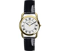 Equinox Midi Women'Quarz-Uhr mit weißem Zifferblatt Analog-Anzeige und schwarzem Lederarmband 17477/P08VN